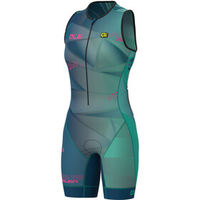 Alé Cycling Triathlon Hawaii Unitard Manga Corta Mujer, emerald